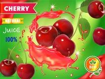 Körsbärsröd ny fruktsaftadvertizing realistisk packedesign för vektor 3d Royaltyfri Foto