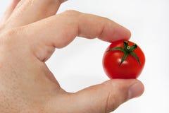 Körsbärsröd tomat mellan två fingrar Royaltyfria Bilder