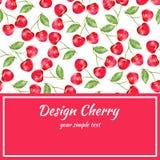 Körsbärsröd vattenfärgillustration, vektorbärgräns Fruktdesign, hand dragen ram på röd bakgrund för banret, kort Royaltyfria Bilder