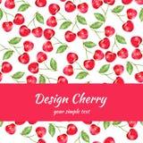 Körsbärsröd vattenfärgillustration, vektorbärgräns Fruktdesign, hand dragen ram på röd bakgrund för banret, kort Arkivbild
