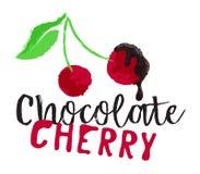 Körsbärsröda bär med chokladfruktetiketten Royaltyfri Foto
