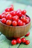 Körsbärsröda tomater i en träbunke Arkivfoto
