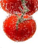 Körsbärsröda tomater med gasbubblor Royaltyfri Fotografi