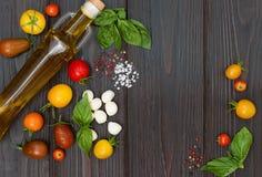 Körsbärsröda tomater, mozzarella, basilikasidor, kryddor och olivolja från över Italienska caprese salladreceptingredienser royaltyfria bilder