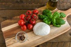 Körsbärsröda tomater och mozzarellaost med basilika Royaltyfri Foto