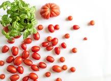 Körsbärsröda tomater och nötkötthjärtor med basilikaväxten Arkivfoton