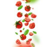 Körsbärsröda tomater och sidor som faller från luften royaltyfri foto
