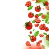 Körsbärsröda tomater och sidor som faller från luften arkivbilder