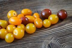 Körsbärsröda tomater på lantlig träbakgrund arkivbild