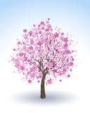 Körsbärsrött träd för blomning vektor illustrationer