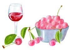 Körsbärsrött vin Royaltyfri Fotografi