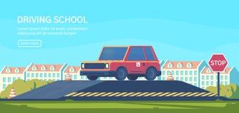 Körskola Praktiskt testa av manövrar och övningar som förbättrar körningsexpertis Plan vektorillustration stock illustrationer