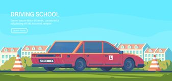 Körskola Praktiskt testa av manövrar och övningar som förbättrar körningsexpertis Plan vektorillustration royaltyfri illustrationer