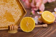 Köstliche Bienenwabe mit Zitrone auf Holztisch Lizenzfreies Stockbild