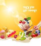 Köstliche Eiscreme des Vektorhintergrundes Stockfotografie