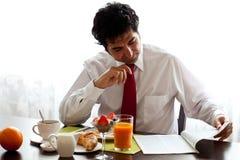 Köstliche Frühstück befor Arbeit Stockbilder