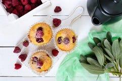 Köstliche frisch gebackene Muffins mit den Himbeeren, verziert mit Puderzucker Stockbild