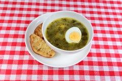 Köstliche grüne Suppe mit Sauerampfer und Eiern Lizenzfreies Stockbild