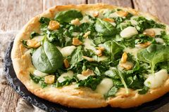 Köstliche heiße Pizza mit frischer Spinats-, Knoblauch- und Käsenahaufnahme auf einem Brett horizontal stockbild