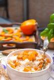 Köstliche Herbstferien Reis und Kürbis für ein Familienabendessen Kopieren Sie Platz lizenzfreie stockbilder