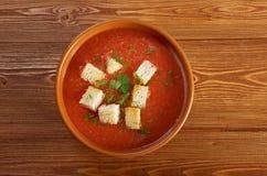 Köstliche kalte Gazpacho-Suppe Lizenzfreies Stockfoto