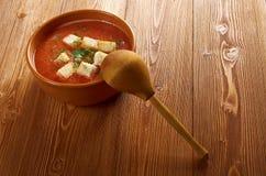Köstliche kalte Gazpacho-Suppe Stockbild