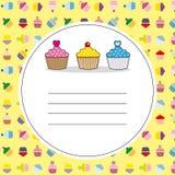 Köstliche kleine Kuchen der Karte Stockbild