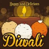 Köstliche Laddu Nachtische und Diyah für Diwali-Feier, Vektor-Illustration Lizenzfreie Stockfotos