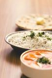 Köstliche Lebensmittel Butter Paneer, gedämpfter Reis und Chapati Lizenzfreie Stockfotografie