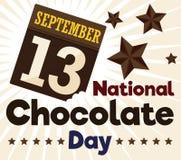 Köstliche Loseblattkalender-Hälfte gebissen für nationalen Schokoladen-Tag, Vektor-Illustration vektor abbildung