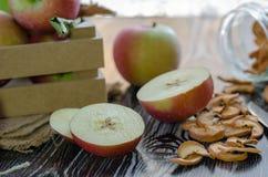 Köstliche neue rote Äpfel und Scheiben des getrockneten Apfels sind auf stockbild