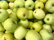 Köstliche orientalische helle Äpfel des schönen grünen reifen südlichen natürlichen süßen Vitamins, Früchte Beschaffenheit, Hinte stockbild