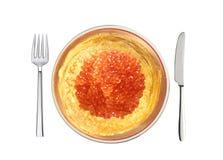 Köstliche Pfannkuchen mit rotem Kaviar auf der weißen Platte lokalisiert Stockfotos
