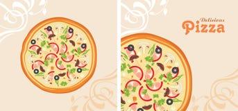 Köstliche Pizza Hintergrund für Menüdesign Stockfotografie