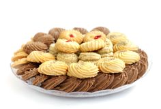 Köstliche Plätzchen und Kekse an der flachen Schärfentiefe Lizenzfreies Stockfoto