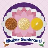 Köstliche Probe von Laddus für Makar Sankranti über Behälter, Vektor-Illustration stock abbildung