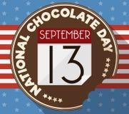 Köstliche runde Knopf-Hälfte gebissen für amerikanischen nationalen Schokoladen-Tag, Vektor-Illustration lizenzfreie abbildung