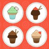 Köstliche Sammlung der kleinen Kuchen Stockbild