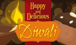 Köstliche Schokolade Barfi und Diya Dessert für Diwali-Feier, Vektor-Illustration Stockbild