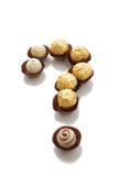 Köstliche Schokolade mit Fragezeichen lizenzfreies stockfoto