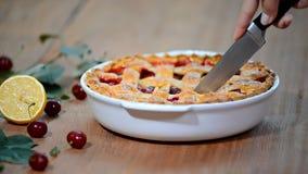 Köstliche selbst gemachte Cherry Pie mit einer flockigen Kruste stock video