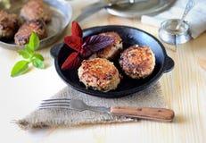 Köstliche selbst gemachte Fleischklöschen in einer Wanne, Tomate, Basilikum Stockfotografie