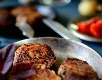 Köstliche selbst gemachte Fleischklöschen in einer Wanne, Tomate, Basilikum Stockfotos
