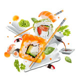 Köstliche Stücke Sushi Stockfotografie