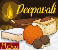 Köstliche traditionelle Nachtische für Diwali-Feier und Diya Lamp, Vektor-Illustration Lizenzfreie Stockbilder