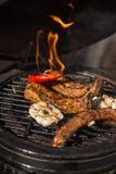 Köstliche würzige marinierte Schweinsrippchen auf heißem loderndem Grill grill Restaurant Stockbild