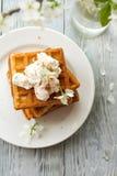 Köstliche Wiener Waffeln mit Zusammensetzung Eis creamon Untertasse im Frühjahr auf hölzernem Hintergrund Lizenzfreies Stockbild
