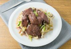 Köstlicher Aufruhr Fried Bean Sprout mit Schwein-Blut-Klumpen Lizenzfreies Stockfoto