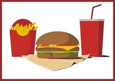 Köstlicher Burger mit Pommes-Frites und Kolabaum Stockfotografie
