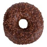 Köstlicher dunkler Schokolade Donut mit besprüht lokalisiert auf Weiß Stockfoto